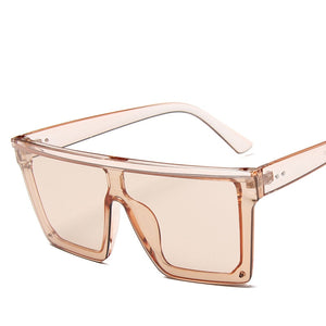 Oversized Square Sunglasses Women Luxury Transparent Colorful Sunglasses Women Designer Men Vintage Flat Top Eyewear UV400