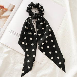 New Fashion Sweet Scrunchie Women Ribbon Elastic Hair Bands Print Dots Bow Scarf Hair Rubber Ropes Girls Hair Accessories