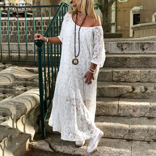 Women Lace Crochet Maxi Long Dress Summer 3/4 Sleeve Party Vestido Robe Femme Bohemian Sundress Casual Loose Autumn Dress