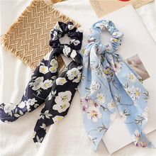 Load image into Gallery viewer, New Fashion Sweet Scrunchie Women Ribbon Elastic Hair Bands Print Dots Bow Scarf Hair Rubber Ropes Girls Hair Accessories