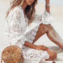 Load image into Gallery viewer, Deep v-neck bikinis Sexy White swimsuit female beach cover-up Lace see though beach wear Long sleeve elegant swimwear