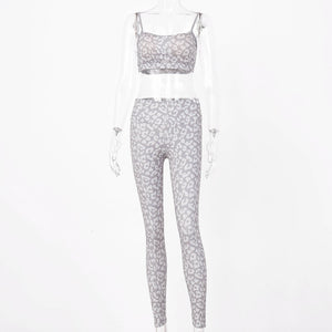 Leopard Workout Tracksuit Cropped Tank Top And Legging Pants 2 Pieces Set Summer Fashion Ladies Sexy Fitness Printed Suit Femme