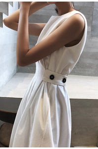 Summer Women Solid White Black Fashion Elegant Casual Party Dress O-neck Sleeveless Tank Sundress Female Vestido