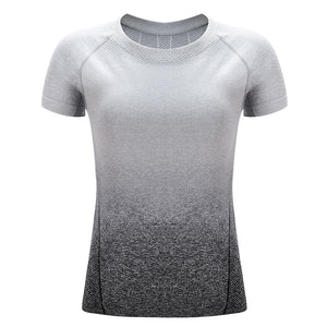 Seamless Yoga Short Sleeve Fry Fit T Shirt Sports Wear Fitness Crop Top Women Gym Active Wear Workout Shirts