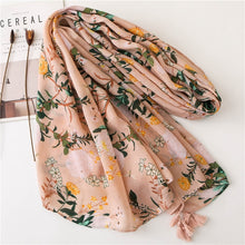 Load image into Gallery viewer, Head scarf New women girls spring autumn designer long bohemian ethnic soft print scarf tassels wrap shawl stole