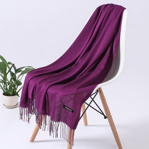 Fashion Solid Color Women Scarf Winter Hijabs Tessale Tassels Long Lady Shawls Cashmere Like Pashmina Hijabs Scarves Wraps