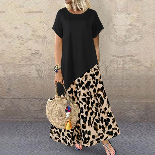 Summer Leopard Maxi Dress Fashion Women's Printed Sundress Short Sleeve Patchwork Vestidos Plus Size Casual Robe