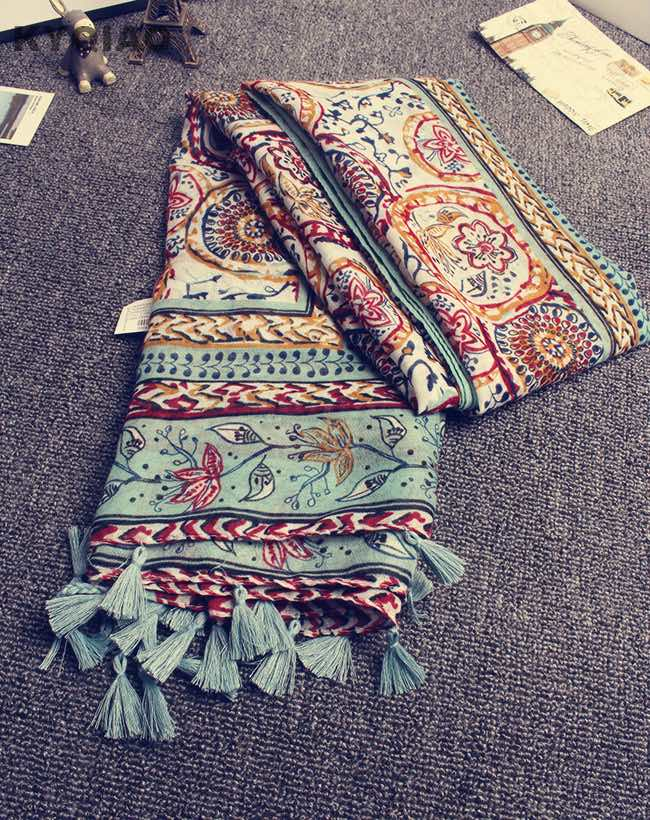 Head scarf New women spring autumn designer long bohemian soft print tassel shawl stole