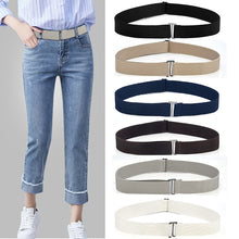Load image into Gallery viewer, 8 Styles No Show Women Stretch Belt Invisible Elastic Web Strap Belt with Flat Buckle for Jeans Pants Dresses