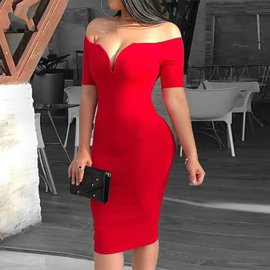Female Sexy Deep V-neck Off Shoulder Bodycon Dress Women Short Sleeve Solid Sheath Midi Dress