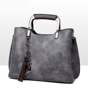 Women's Genuine Leather Tassel Retro Lady Handbags High Quality Women Luxury Female Tote Bag