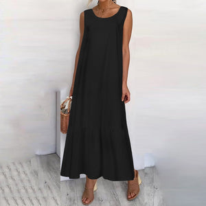 Maxi Long Dress Fashion Women Summer Sundress Cotton Ruffles Casual Loose Sleeveless Party Dress