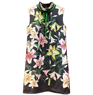 Autumn Vintage Flower Print Women's Exquisite Beading luxury Sleeveless Mini Dress