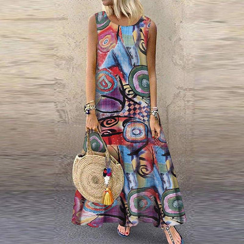 Women Bohemian Sleeveless Floral Printed Sundress Summer Dress Robe Vintage Kaftan Beach Plus Size