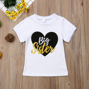 Big Sister Little Brother Matching Outfits Baby Boy Bodysuits Girl T shirt Kids Top Tee Clothes Set