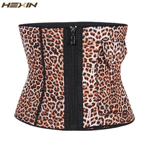 Extra Firm Control Waist Cincher Girdle Leopard Zipper Shapers Waist Trainer Corset Slimming Belt With Pocket