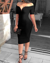 Load image into Gallery viewer, Female Sexy Deep V-neck Off Shoulder Bodycon Dress Women Short Sleeve Solid Sheath Midi Dress
