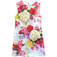 Load image into Gallery viewer, Women's Summer Runway Jacquard A Line Mini Dress Fashion Sleeveless Floral Print Appliques Female Party Dresses