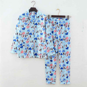 New Pajamas Women Kawaii Cartoon Pajamas 100% Brushed Cotton Cute Sleepwear Big yard S-L