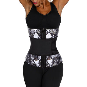 Fajas 7 Steel Boned Latex Snake Print Waist Trainer Figure Sculpting Weight Loss Cincher Body Shaper Slimming Belt