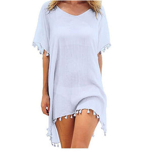 Chiffon Tassels Beach Wear Women Swimsuit Bathing Suits Summer Swimwear Mini Dress Loose Cover Ups