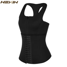 Load image into Gallery viewer, Steel Bone Neoprene Sauna Sweat Body Shaper Women Zipper Waist Trainer 4 Row Hooks Slimming Shapewear