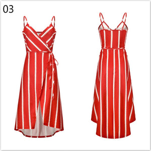 Beach dress boho bandage summer bohemian casual blue sun backless vestido striped v neck ladies