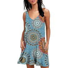 Load image into Gallery viewer, Women Beach Dresses Casual Loose Cover Ups Rose Print Sleeveless Pocket