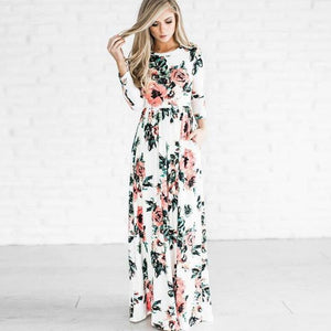 Autumn Winter Floral Print Boho Tunic Maxi Women Evening Party Dress Retro Hippie Vestidos