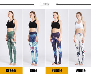 Gym Women Fitness Yoga Pants Slim High waist Sport Leggings Elastic Romantic Printed Long Tights for Running Tummy Control