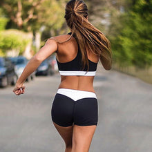 Load image into Gallery viewer, Summer Women Sport Suits Sexy Crop Tops+Shorts Tracksuit Two Piece Set Running Clothes Quick Dry