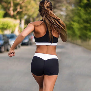 Summer Women Sport Suits Sexy Crop Tops+Shorts Tracksuit Two Piece Set Running Clothes Quick Dry