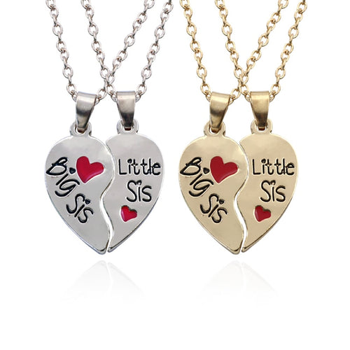 2 PCS/Set Best Sisters Pendant Necklaces Big Little Sister Silver Broken Heart Necklace Best Friends Forever Bff For Girls Women