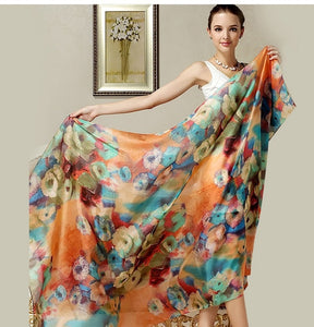 Women Long Silk Scarf Shawl Spring Autumn Female Silk Scarves Printed Summer 100% Genuine Silk Beach Cover-ups