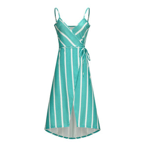Beach dress boho bandage midi summer bohemian casual blue sun backless vestido chic striped v neck ladies long dresses