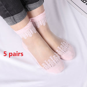 Elastic Socks Crystal Glass Silk Ultrathin Lace Literary Sale 5 Pairs Summer Transparent Short Socks