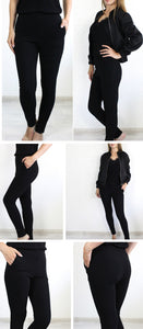 Elastic Waist Black Striped Mid Waist Skinny Trousers Autumn Office Lady Elegant Slim Fit Vertical Women Pencil Pants
