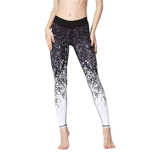 Women's Ankle Length Printed Yoga Pants Quick Dry Gym Leggings Stretch Fit Fitness Running Athletic Tights