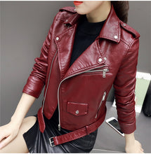 Load image into Gallery viewer, Autumn New Short Faux Soft Leather Jacket Women Fashion Zipper Motorcycle PU Leather Jacket Ladies Basic Street Coat