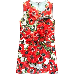 Women's Summer Runway Jacquard Sleeveless Dress Fashion Appliques Floral Print Vintage Party A Line Short Dresses