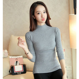 Turtleneck Sweater Women Fashion Autumn Winter Black Tops Knitted Long Sleeve Jumper