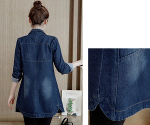Autumn Winter Denim Jacket Women Slim Long Base Coat Women's Frayed Navy Blue Plus size Jeans Jackets Coats Cool 5XL