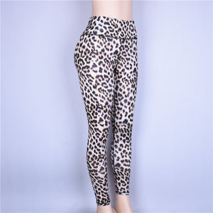 New Leopard Print High Waist Hip Push Up Yoga Leggings Women High Elastic Slim Gym Workout Tight Pants Fitness Clothing