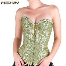 Load image into Gallery viewer, Sexy Women Corset Brocade Floral Bustier Top Lace Up Back Lingerie Body Shaper