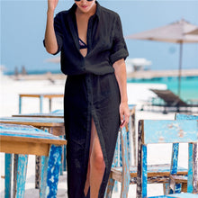 Load image into Gallery viewer, Chiffon Bathing suit cover up Button Long Beach Coverups Women Maxi Beach Dress  Cover-ups Loose Beachwear