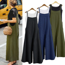 Load image into Gallery viewer, Plus Size S-3XL Women Cotton Pocket Long Wide Leg Romper Strappy Dungaree Bib Overalls Casual Loose Solid Jumpsuit