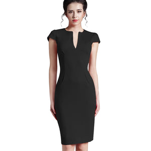 Office Women Vintage Summer Solid Deep V-neck Zipper Back Formal Stretch Pencil work Bodycon Pocket Dress