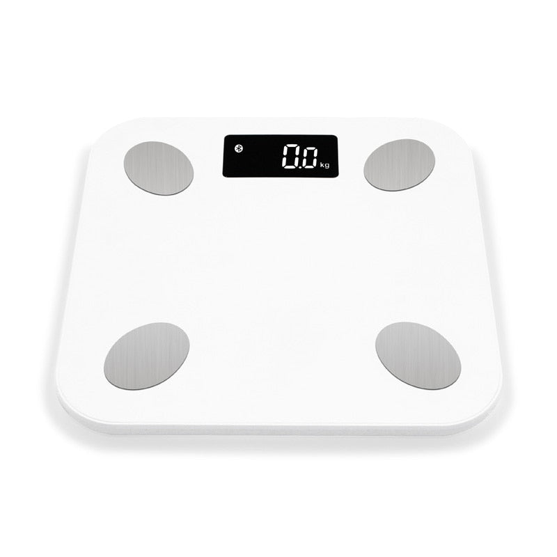 Bluetooth scales floor Body Weight Bathroom Scale Smart Backlit Display Scale Body Weight Body Fat Water Muscle Mass BMI (White)