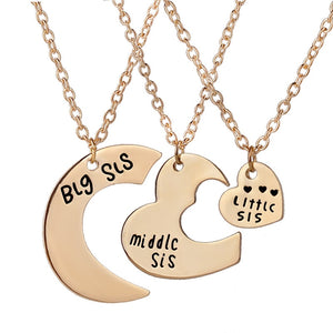 New Style Jewelry Big Sister Pendant Three Piece Love Heart Best Friends Necklace