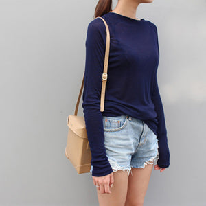 Sexy Women Long Sleeve O-neck Slim Fit Warm Spring Summer T-shirts Korean Black White Blue Pink